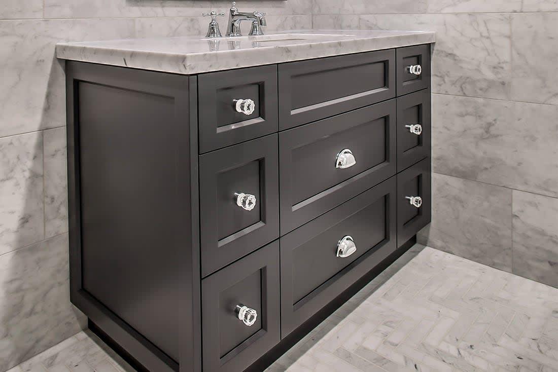 Glasgow Grey Transitional Powder Room Vanity Chervin Kitchen Bath In Waterloo Muskoka And Oakville