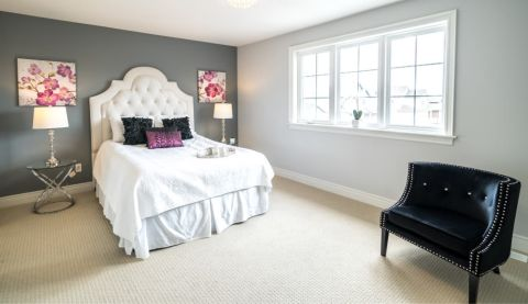 Staging of a master bedroom in stoney creek